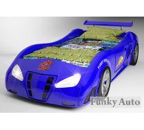 Детская кровать машина Фанки Enzo синего цвета, горящие фары! Скидка 35%!