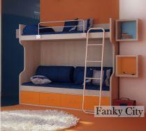 Кровать двухъярусная Фанки Сити ФС-2 + лестница ФС-18 + бортик ФС-16