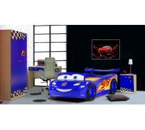 Кровать-машина Маквин Молния арт 20005 + Фанки Авто, цвет синий.
