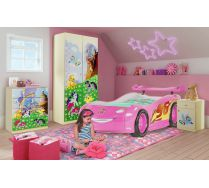 Кровать машина Молния Маквин для девочки арт. 20008 + мебель серии Фанки Беби