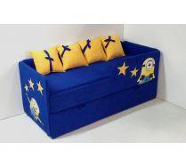 Диван-кровать для детей Миньоны арт. 30006 с выкатным элементом и бортиком на верхнем ярусе