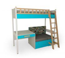 Кровать универсальная с лесенкой (массив) + мягкое основание