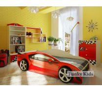 Кровать-машина Акура для детей + комод + стеллаж + полка серии Фанки Авто. Цвета на выбор!
