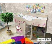 Кровать-чердак для девочки Китик, арт. 40019 с уф-фотопечатью