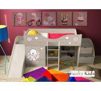 Детская кровать-чердак Зайка, арт. 40015 + горка для игр 13/18 + лестница 13/19 для подъема