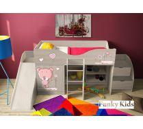 Детская мебель Фанки Бэби: кровать-чердак Мишка, арт. 40019 + горка 13/18 + лестница 13/19