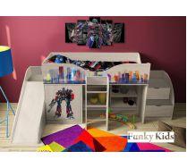 Кровать-чердак Трансформер, арт. 40018 с горкой и лестницей-комодом