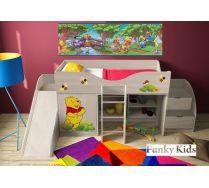 Мебель для детей Винни Пух: кроваь-чердак, арт. 40014 + горка 13/18 + лестница-комод 13/19