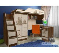 Детская мебель Пираты: кровать-чердак ПР-4/1 + лестница ПР-13/8 + стол КП-13/1