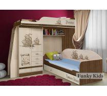 Детская кровать чердак ПР-4/1 + низкая кровать ПР-01 серия Пираты