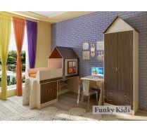 Детская мебель Фанки Кидз: кровать Домик 6/2 + стол 23/2 + шкаф 13/3 + антресоль 13/67