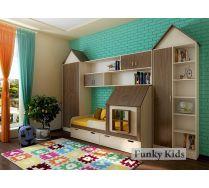 Мебель для детей и подростков: кровать Домик 13.7/2 + мост 13/12 + шкаф 13/2 + 13/67 + стеллаж 13/4 + 13/68