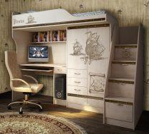 Кровать-чердак ПР-4 + лестница ПР-13/8 мебель Пираты