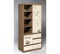 Детский шкаф Пираты для хранения вещей: стеллаж ПР-02 + пенал ПР-04