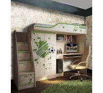 Кровать-чердак ФУТ-4 + тумба-лестница ФУТ-13/8 мебель Футбол