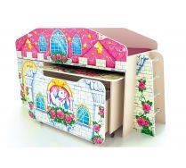 Кровать-чердак КЧ-8 + столик СТ-5 + ящик ЯЩ-8 серия Замок Принцесса