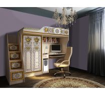 Кровать-чердак Жасмин со столом Ж 4-2У + лестница-комод Ж 13/8-2У