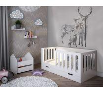 Детская кровать с высокими бортиками Сказка + полка + тумба
