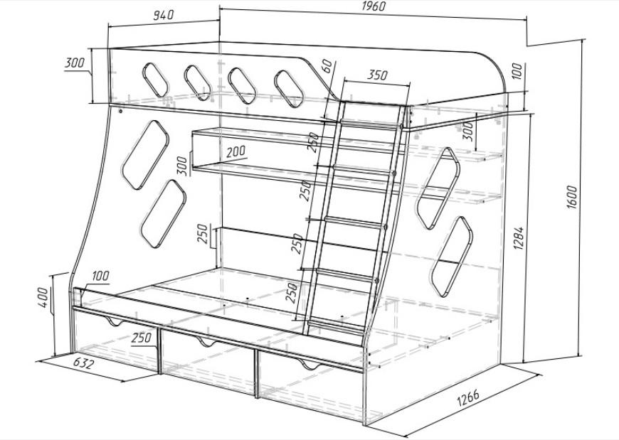 Простая двухъярусная кровать своими руками чертеж 299