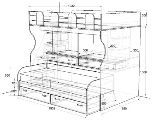 Схема детской кровати Фанки 19.